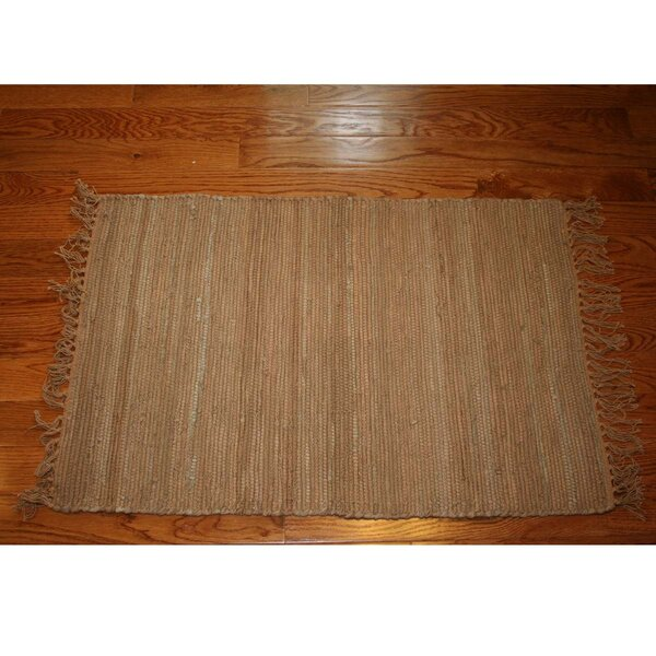 One-of-a-Kind Linmore Solid Hand-Woven Tan Area Rug by Bay Isle Home