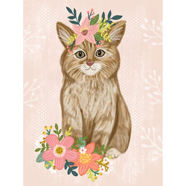 Cameo Floral Kitty by Olivia Gibbs Canvas Art by Harriet Bee