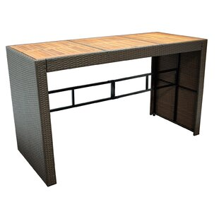 Creighton Wooden And Rattan Bar Table