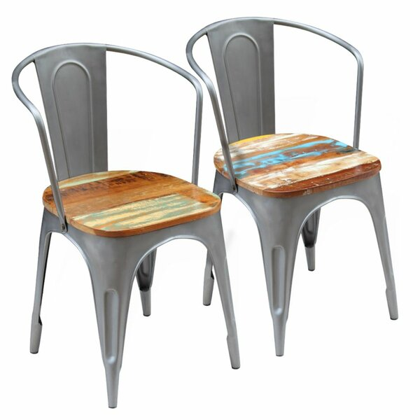 Barlett Slat Back Arm Chair In Gray (Set Of 2) By Williston Forge