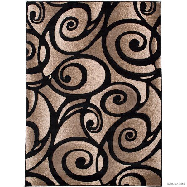 Evolution Swirl Black/Brown Area Rug by AllStar Rugs
