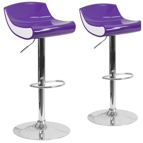 Greensboro Adjustable Height Swivel Bar Stool (Set of 2) by Latitude Run
