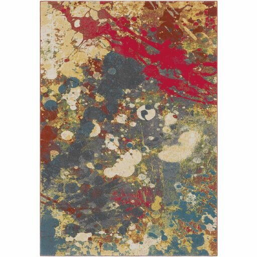Donvers Bright Red/Charcoal Area Rug by Ebern Designs