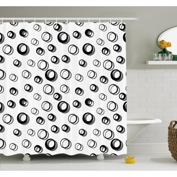Geometric Circle Abstract Various Round Pattern Reflections Decorations Minimalist Shower Curtain Set by Ambesonne