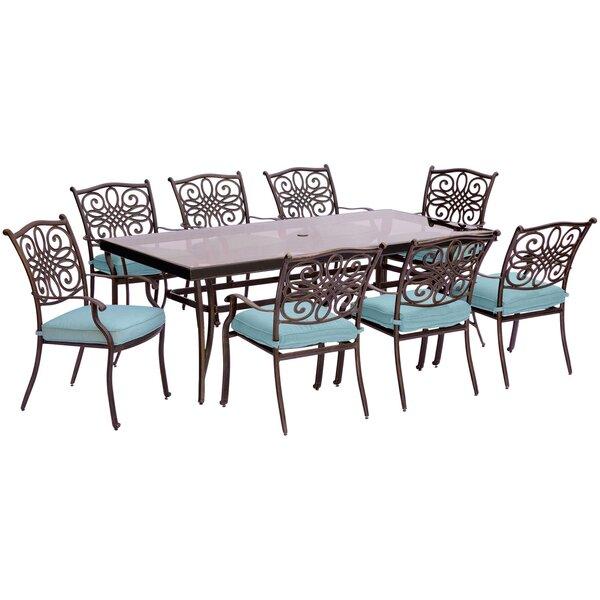 Carleton 9 Piece Modern Dining Set with Cushions by Fleur De Lis Living
