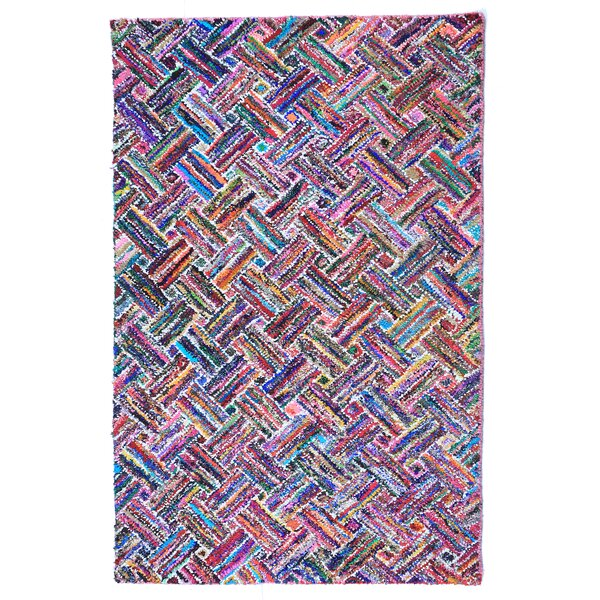 Doster Basket Weave Hand-Knotted Pink/Red Area Rug by Bungalow Rose