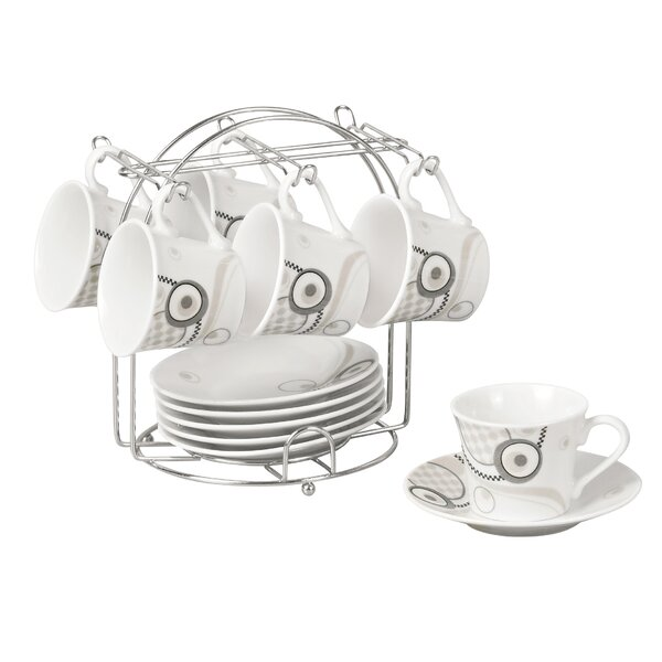 Espresso Cup and Saucer Set with Metal Stand by Lorren Home Trends