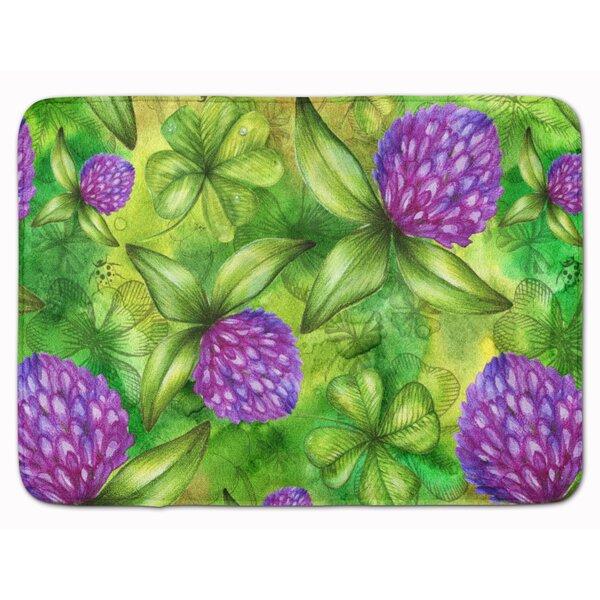 Shamrocks in Bloom Rectangle Microfiber Non-Slip Floral Bath Rug