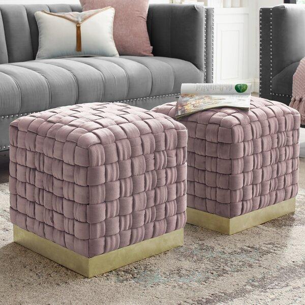 Check Price Marcheline Woven Cube Ottoman