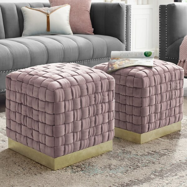 Marcheline Woven Cube Ottoman By Nicole Miller