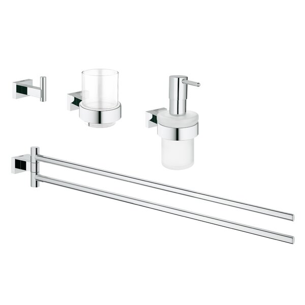 Essentials Cube 4 Piece Bathroom Hardware Set by Grohe