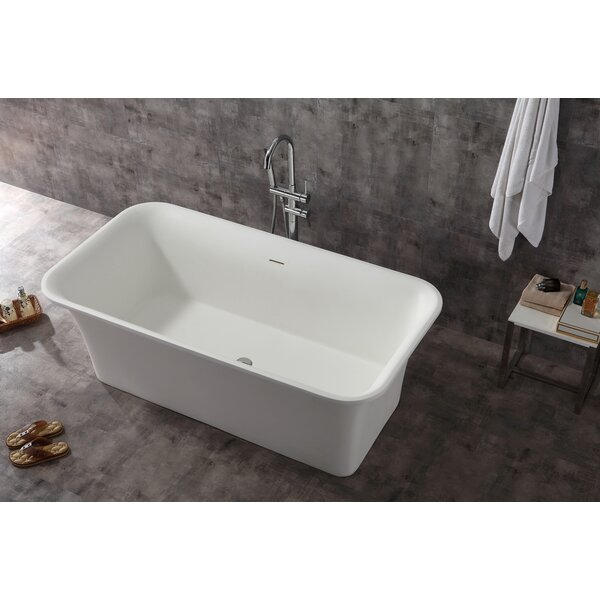 Rectangular Solid Surface Smooth Resin 67 x 35.6 Freestanding Soaking Bathtub by Alfi Brand