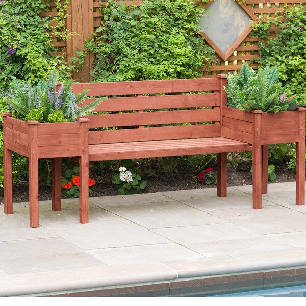 Wood Planter Bench by Leisure Season Leisure Season