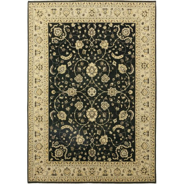 One-of-a-Kind Corrado Hand-Knotted Wool Black/Beige Indoor Area Rug by Astoria Grand