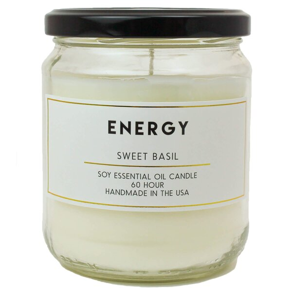Energy Sweet Basil Essential Oil Soy Scented Jar Candle by Bungalow Rose