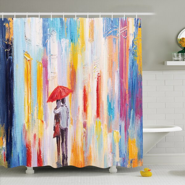 Home Silhouette of Love Couple in Street Rainy Day Romance in Urban City Life Design Shower Curtain Set by Ambesonne
