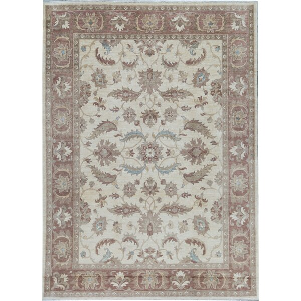 Oriental Hand-Knotted Wool Ivory/Red Area Rug
