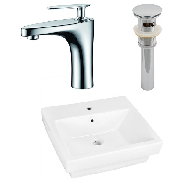 Ceramic Rectangular Vessel Bathroom Sink with Overflow and Faucet