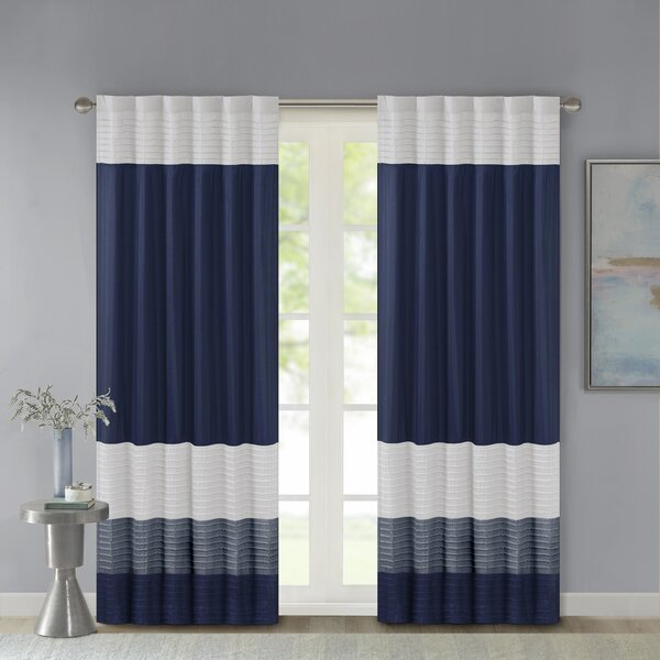 Berardi Striped Room Darkening Rod Pocket Single Curtain Panel by Three Posts