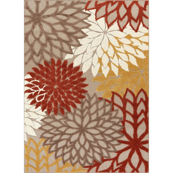 Dorado Monica Modern Floral High-Low Rust Indoor/Outdoor Area Rug by Well Woven