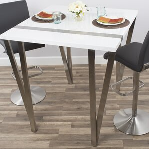 Eve High-Gloss Lacquer and Brushed Stainless Steel Pub Table by Brayden Studio