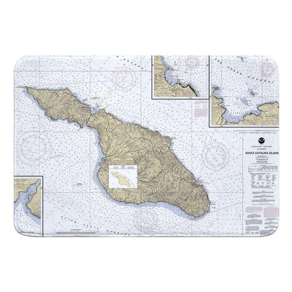 Nautical Chart Santa Catalina Island CA Rectangle Memory Foam Non-Slip Bath Rug