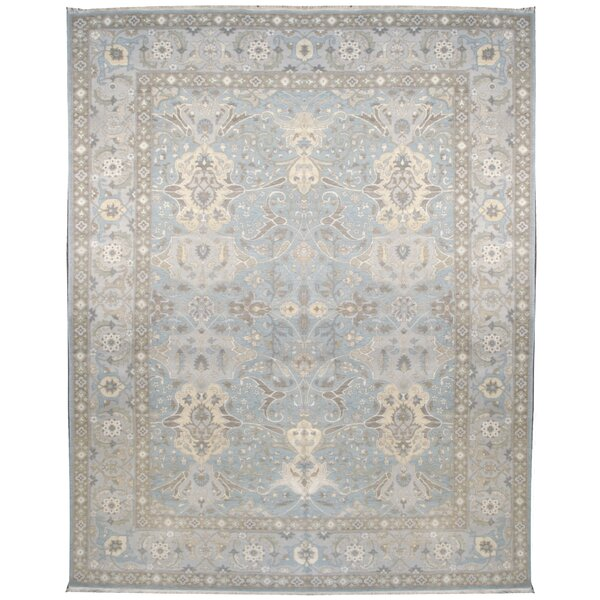 One-of-a-Kind Hand-Knotted Light Blue/Light Green 10' x 14' Wool Area Rug