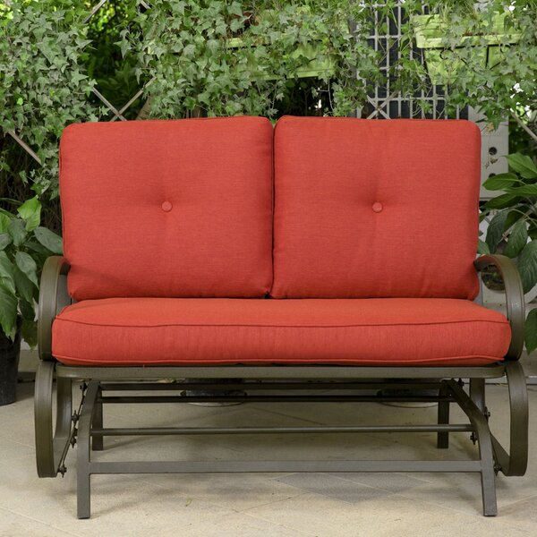 Courtois Outdoor Glider Bench with Cushions by Fleur De Lis Living