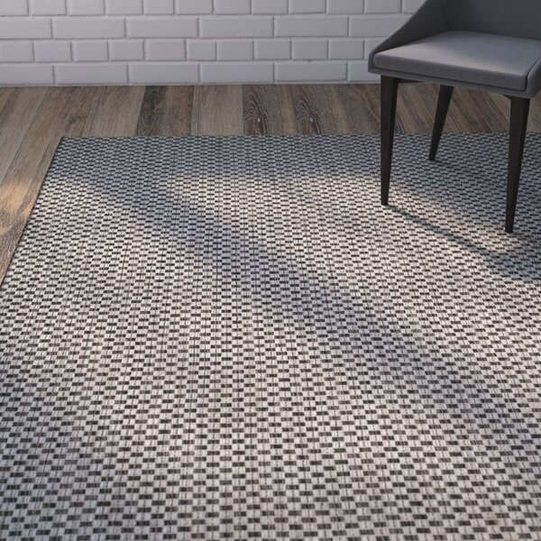 Jefferson Place Black/Light Gray Outdoor Area Rug by Wrought Studio