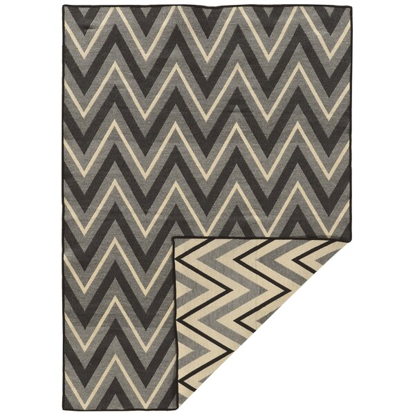 Brooking Hand-Woven Black/Gray Area Rug by Foundry Select