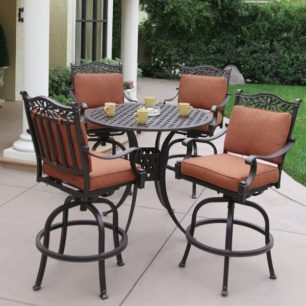 Fairmont 5 Piece Bar Height Dining Set with Cushio