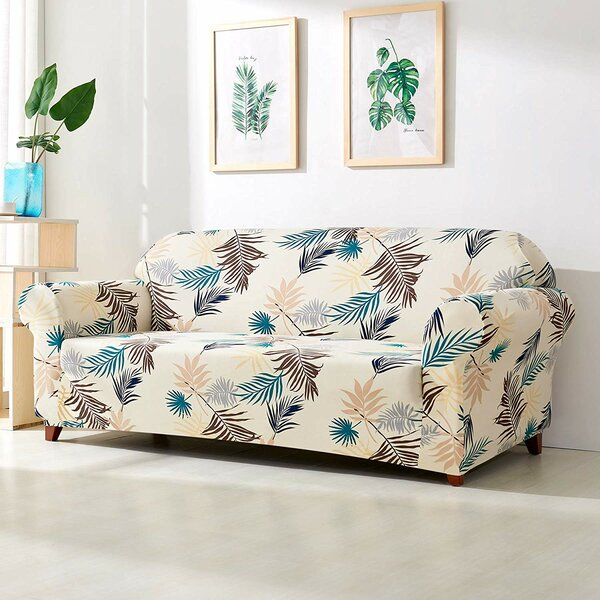 Leaves Printed Stretch Loveseat Slipcover by Bayou Breeze