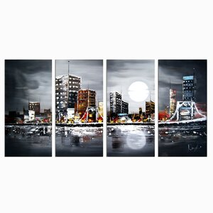 'Moonrise in the City' 4 Piece Painting on Canvas Set by Ebern Designs