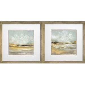 'Soft Light I and II' by Cat Tesla 2 Piece Framed Acrylic Painting Print Set by Star Creations
