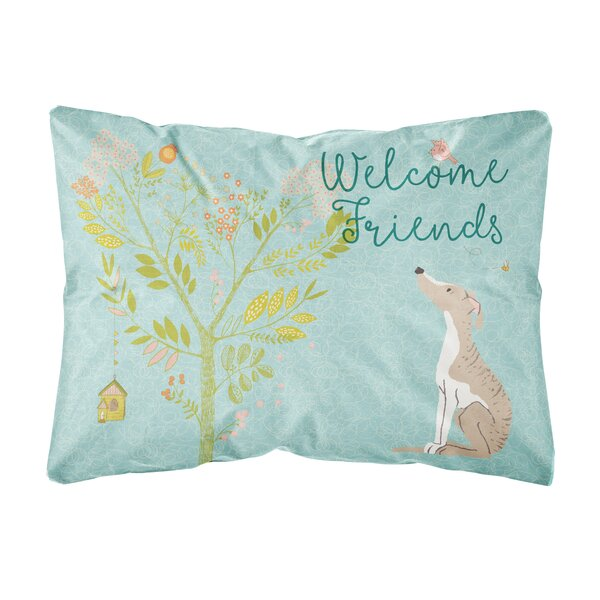 Kirk Welcome Friends Whippet Indoor/Outdoor Throw Pillow by Winston Porter
