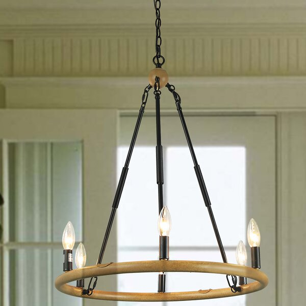 Varghese 6 - Light Candle Style Wagon Wheel Chandelier by Millwood Pines Millwood Pines