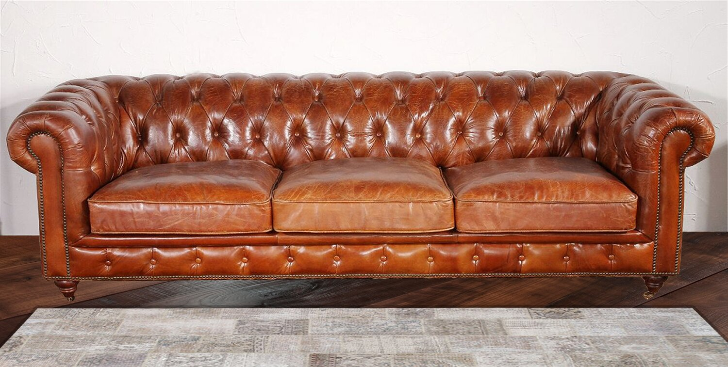 Chester Bay Genuine Leather Chesterfield Sofa