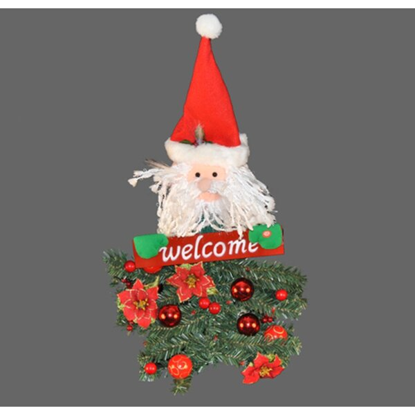 Battery Operated Santa Claus Hanging Welcome Arrangement by Queens of Christmas