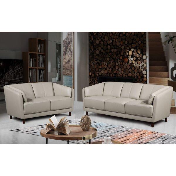 Govan Modern Mid-Century 2 Piece Leather Living Room Set By Orren Ellis