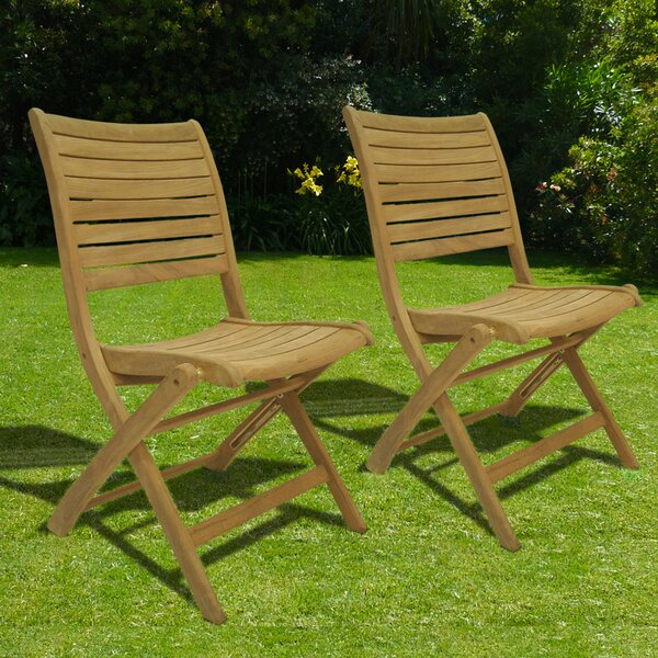 Elsmere Folding Teak Patio Dining Chair (Set of 2) by Beachcrest Home