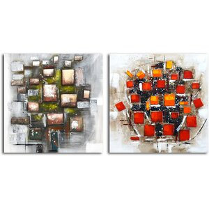Quadrilateral Vortex' 2 Piece Painting on Canvas Set by Omax Decor