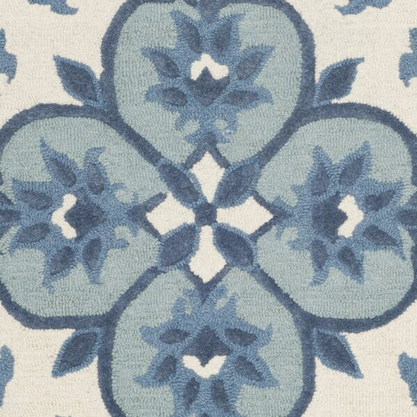 Blokzijl Hand-Tufted Wool Ivory/Blue Area Rug by Bungalow Rose