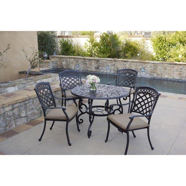 Fostoria 5 Piece Dining Set with Cushions by Fleur De Lis Living