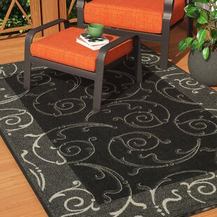 Check Prices Alberty Black/Sand Swirl Indoor/Outdoor Area Rug ByThree Posts