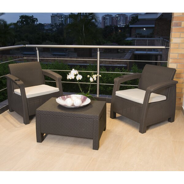 Escolta 3 Piece Rattan Seating Group with Cushions by Canora Grey