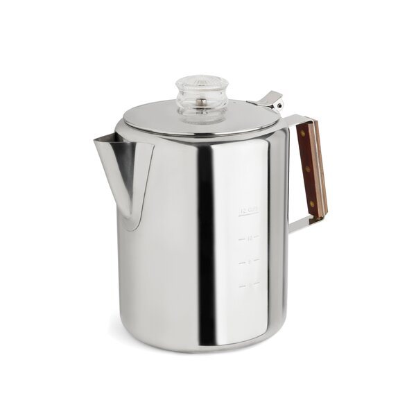 2-12 Cup Rapid Brew Stainless Steel Percolator by Tops