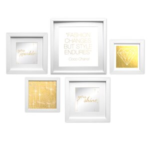 Shine Bright Collage 5 Piece Framed Graphic Art Set by Star Creations