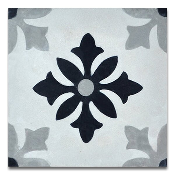 Azrou 8 x 8 Handmade Cement Tile in Black and Gray by Moroccan Mosaic