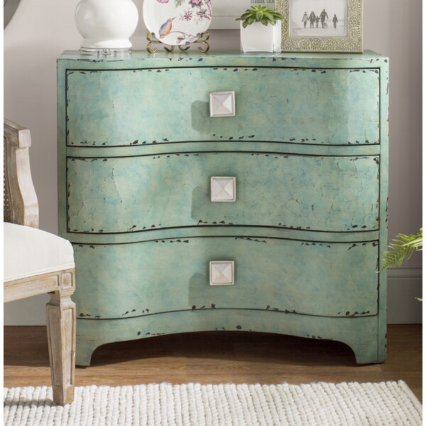 Mendon Port Crackle Bombe 3 Drawers Accent Chest by Bungalow Rose Bungalow Rose