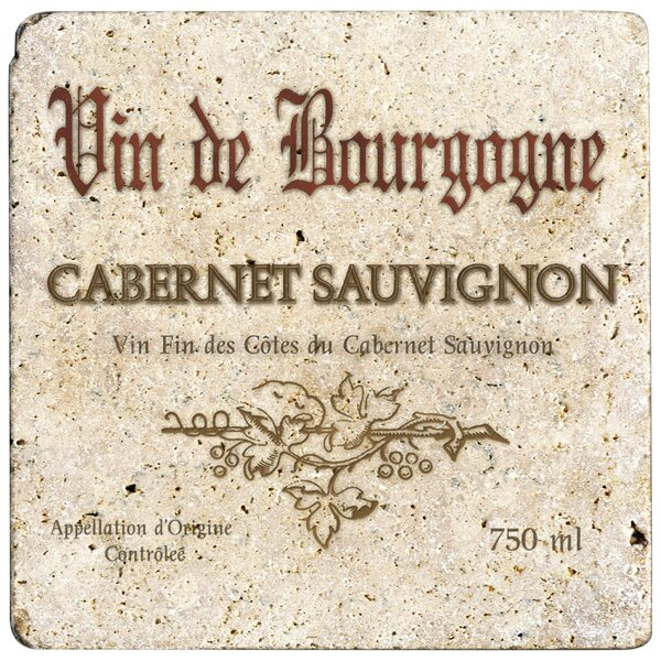 Ambiance Cabernet Wine Label Travertine Trivet by Thirstystone